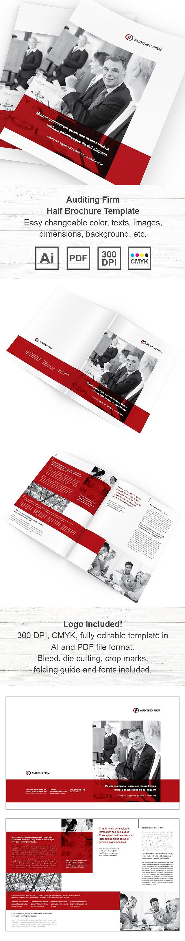 Auditing Firm Half Fold Brochure Template