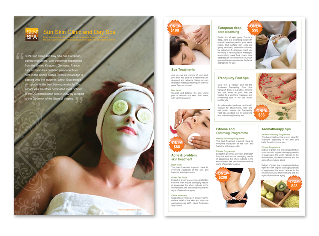 Skin Care & Spa Center Datasheet Template