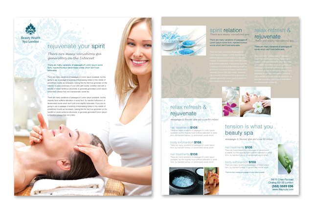 Day Spa & Beauty Salon Datasheet Template