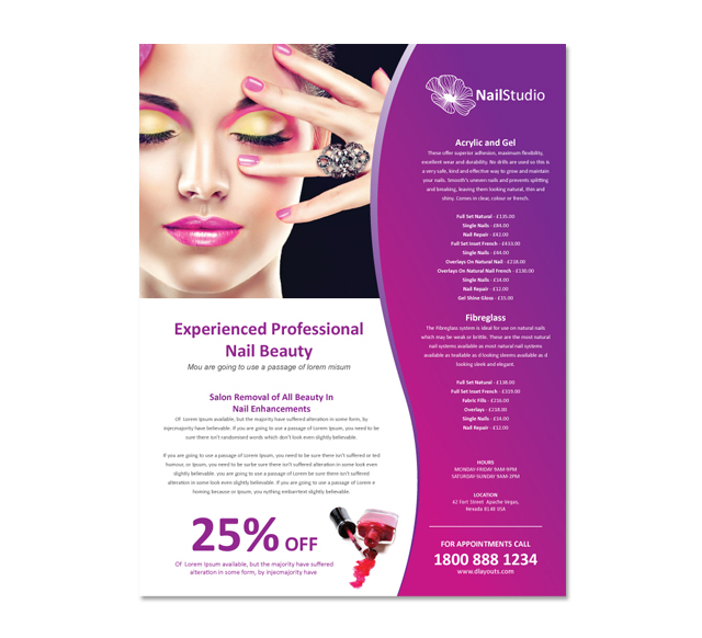 Nail Beauty Salon Flyer Template