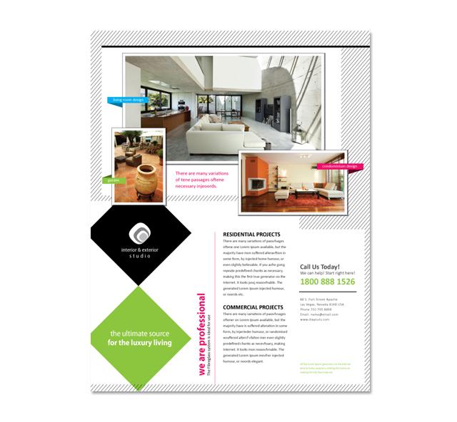 Interior & Exterior Studio Flyer Template