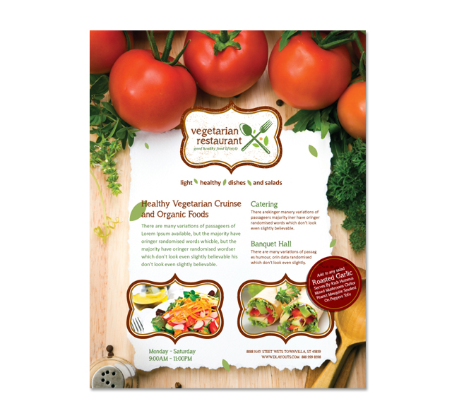 Vegetarian Restaurant Flyer Template