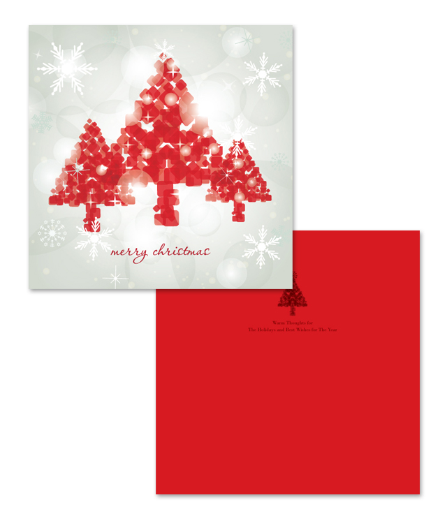 Red Christmas Tree Greeting Card Template
