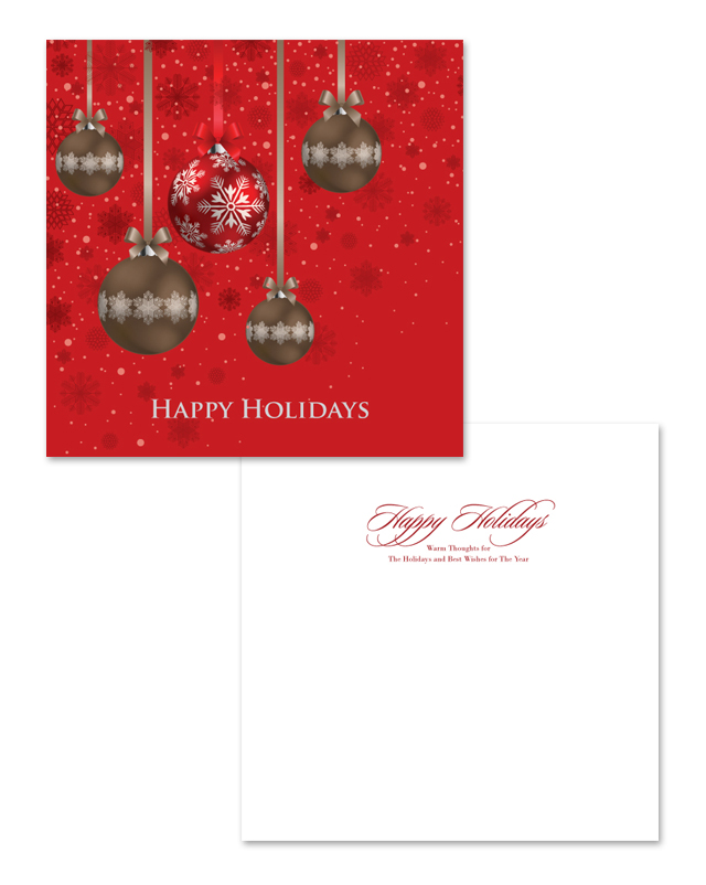 Red Ornament Balls Greeting Card Template