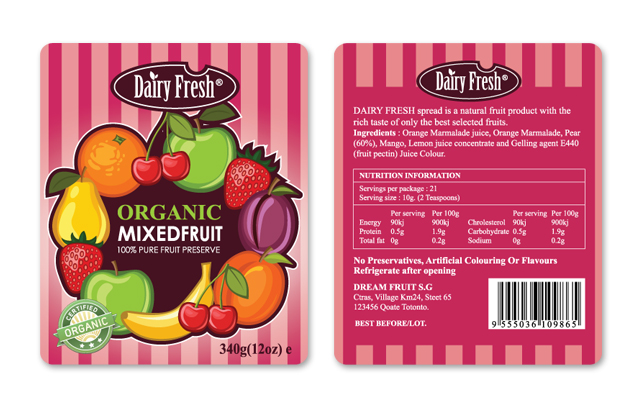 Mixed Fruit Jam Label Template