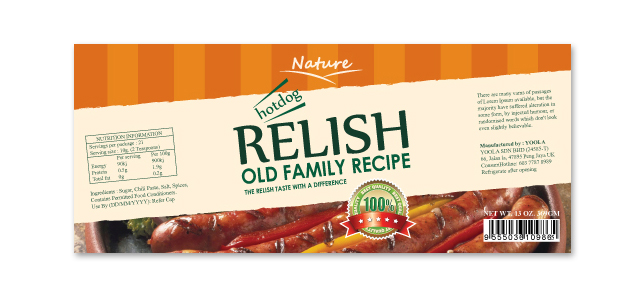 Hotdog Relish Label Template