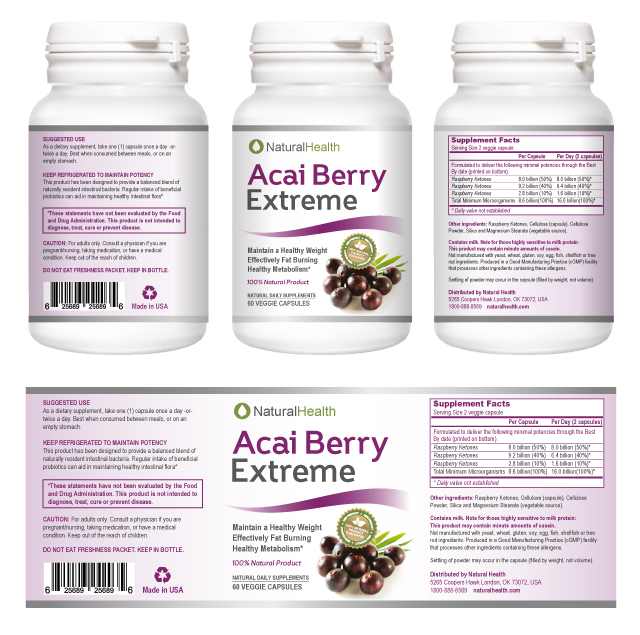 Acai Berry Weight Loss Supplement Label Template