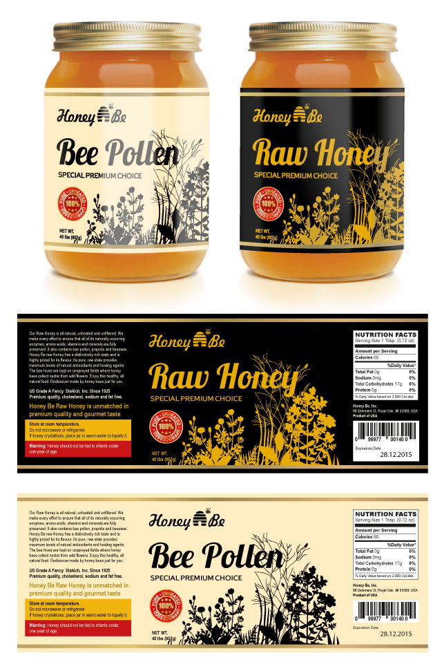 Raw Honey & Bee Pollen Labels Template