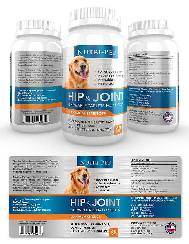 Pet Hip & Joint Supplement Label Template