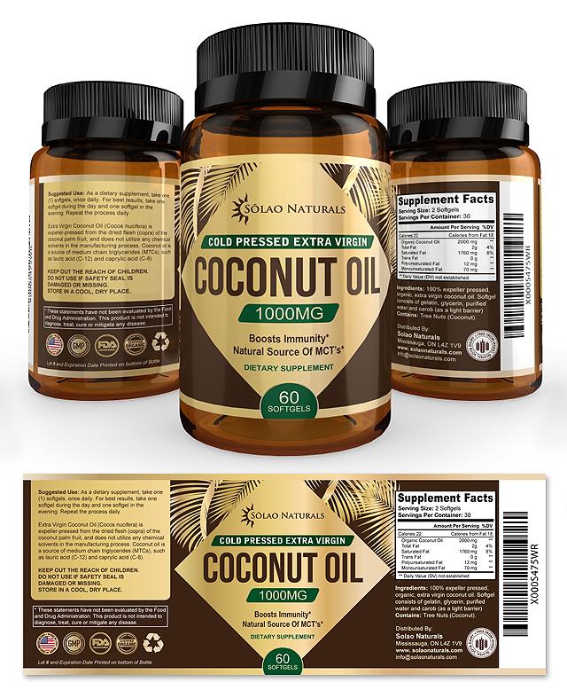 Virgin Coconut Oil Supplement Label Template