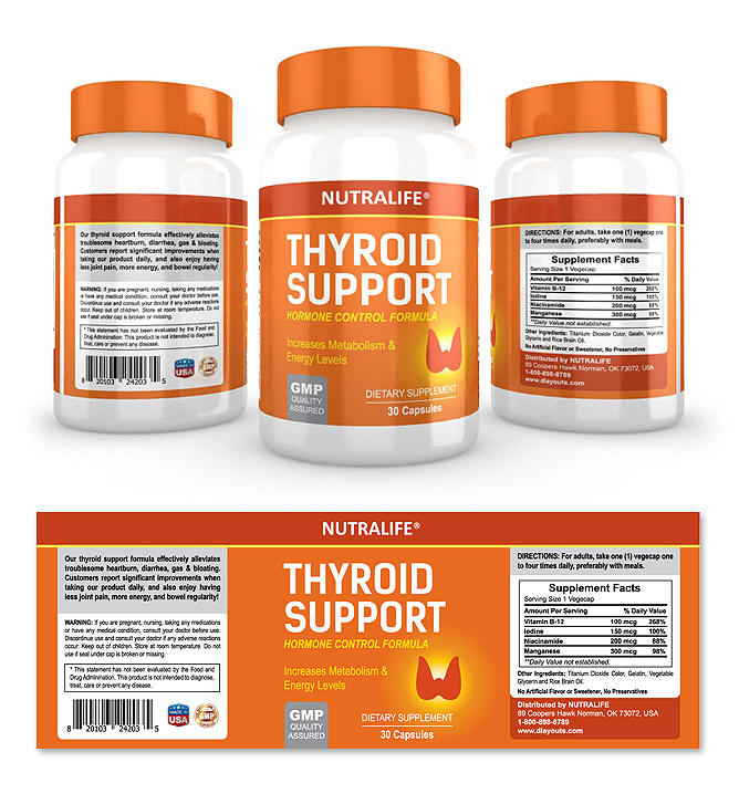 Thyroid Support  Supplement Label Template
