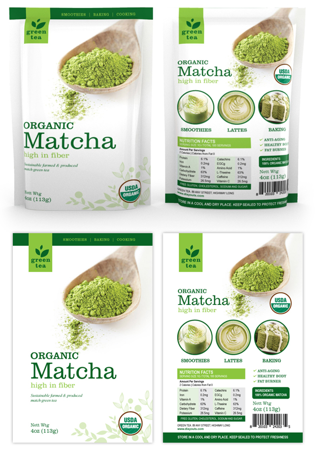 Matcha Green Tea Packaging Template