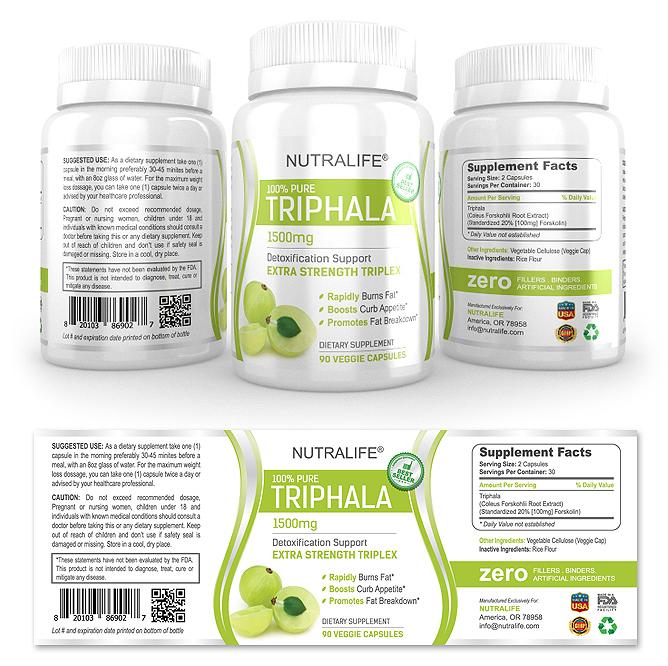 Pure Triphala Supplement Label Template