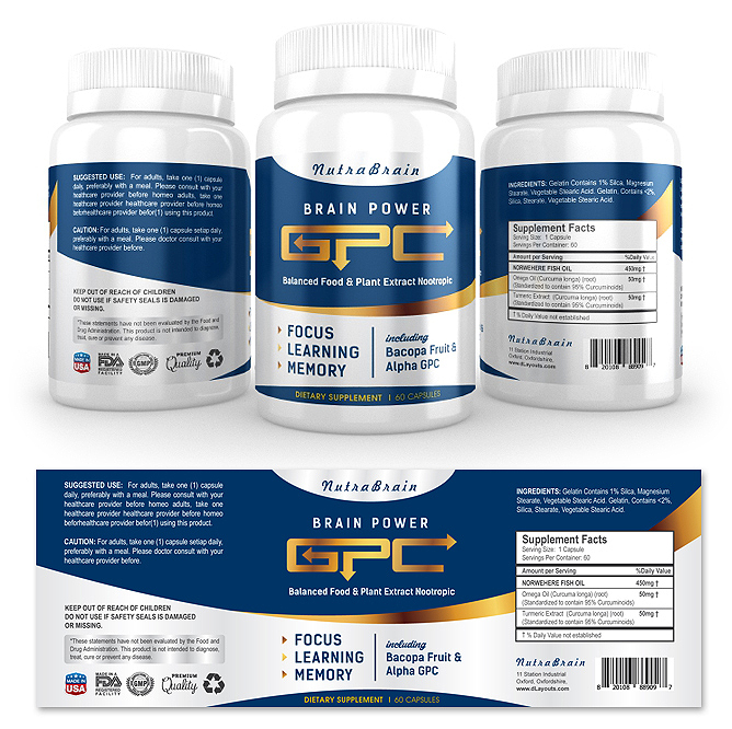 Brain Alpha GPC Supplement Label Template