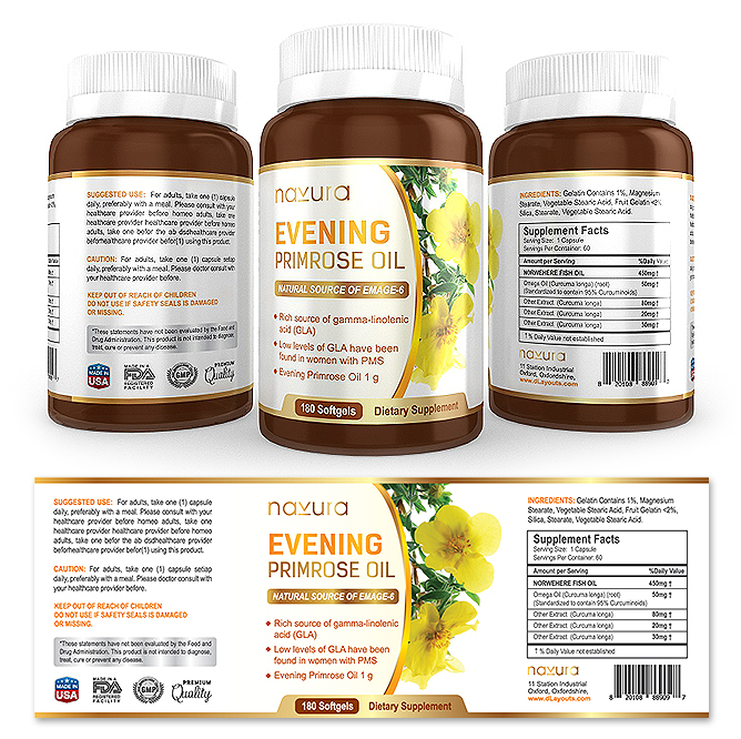 Evening Primrose Oil Supplement Label Template