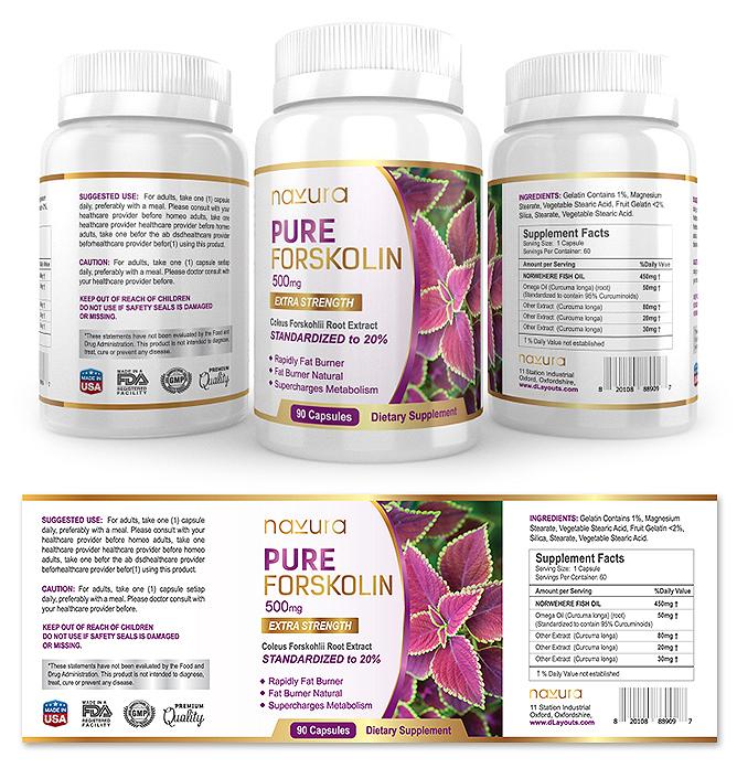 Pure Forskolin Supplement Label Template