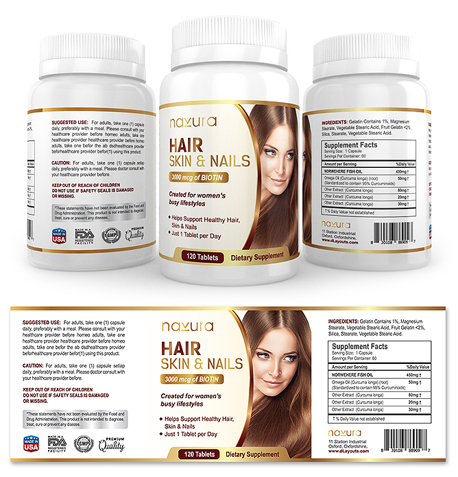 Hair, Skin & Nails Supplement Label Template
