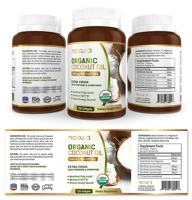 Organic Coconut Oil Supplement Label Template