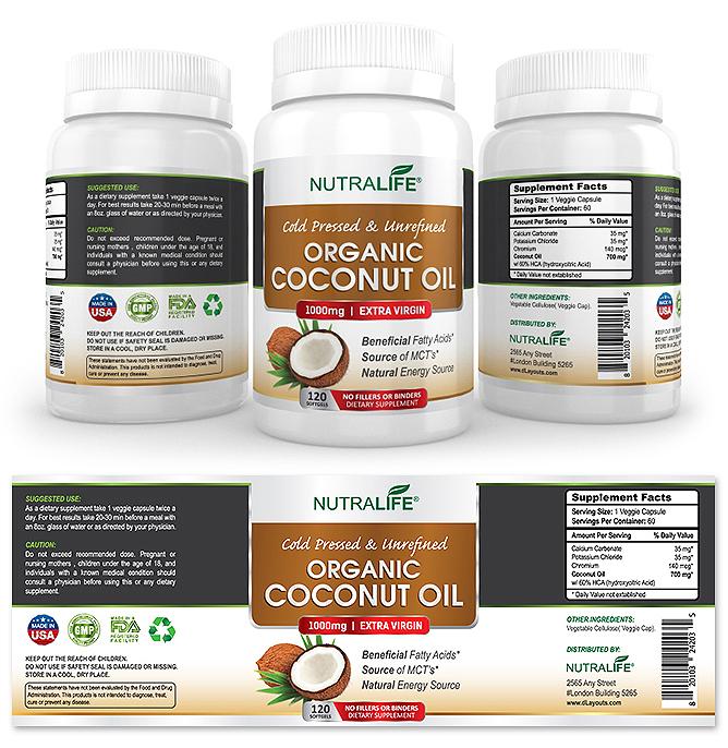 Organic Coconut Oil Supplement Label Template