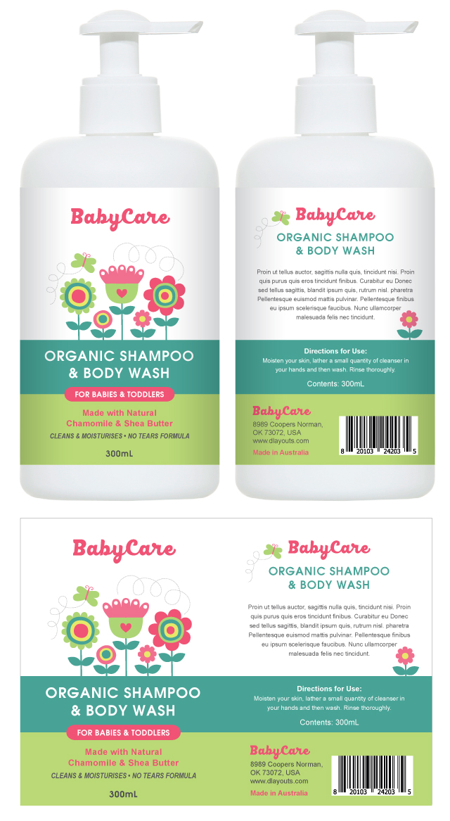 Baby Shampoo & Body Wash Label Template