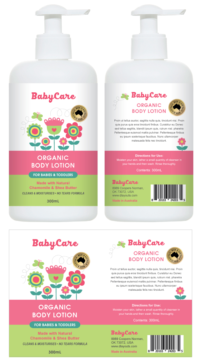 Baby Body Lotion Label Template