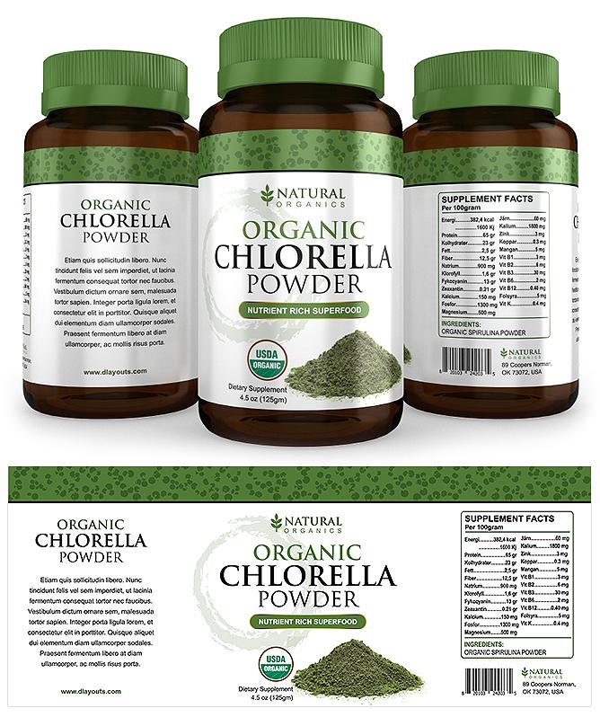 Organic Chlorella Powder Label Template