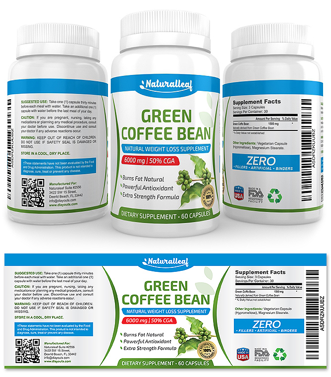 Green Coffee Bean Supplement Label Template