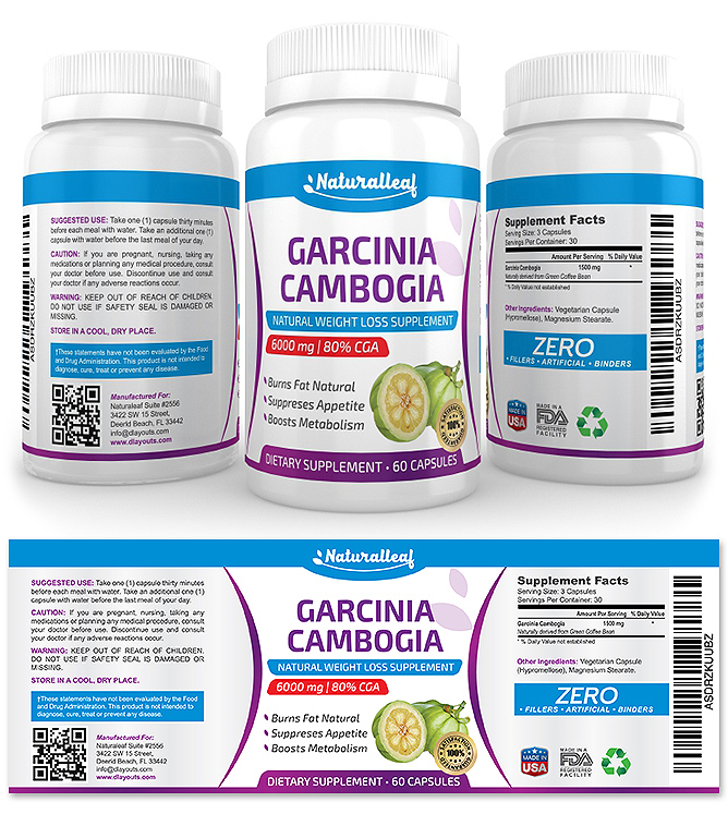Garcinia Cambogia Supplement Label Template