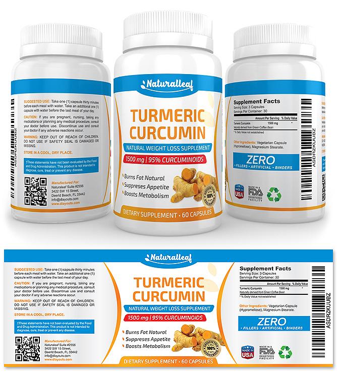 Turmeric Curcumin Supplement Label Template