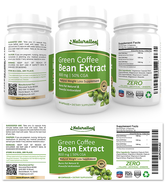 Green Coffee Bean Extract Supplement Label Template