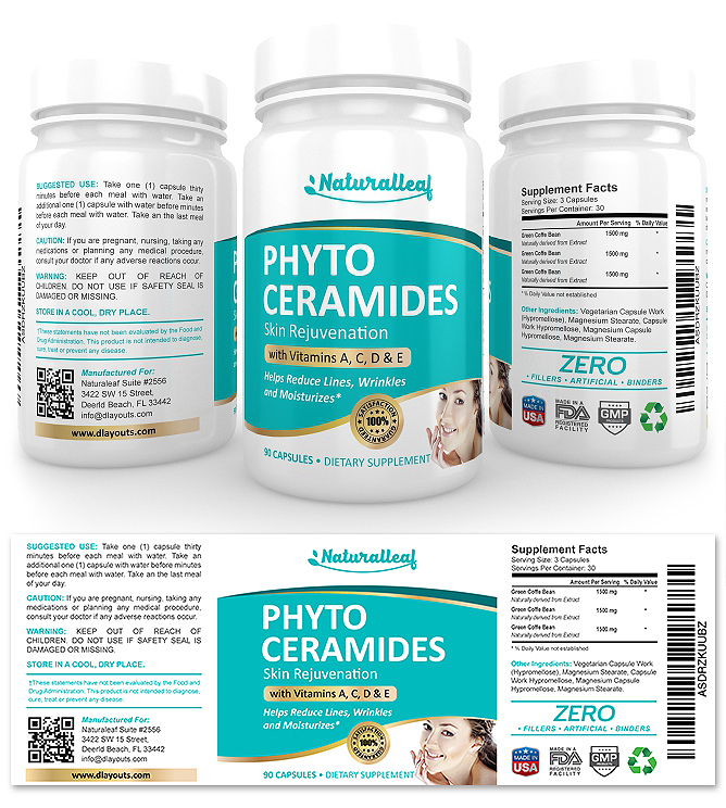 Phytoceramides Anti-aging Supplement Label Template