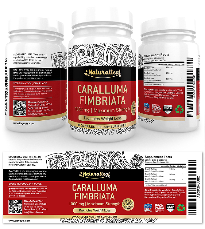 Caralluma Fimbriata Supplement Label Template
