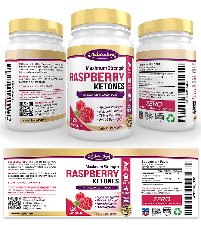 Raspberry Ketones Supplement Label Template