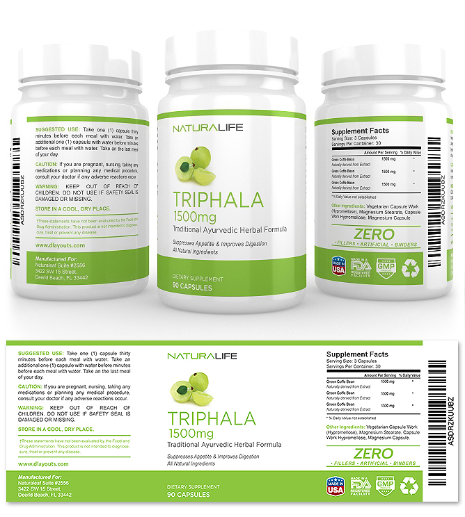 Triphala Extract Supplement Label Template