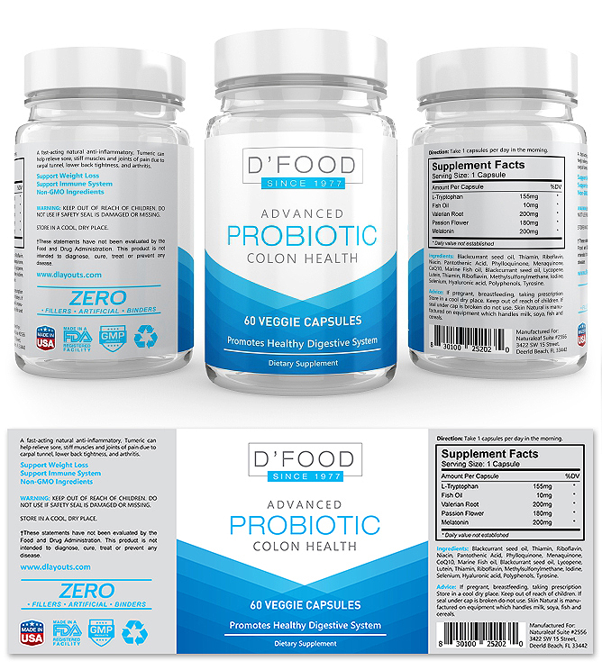 Probiotic Supplement Label Template