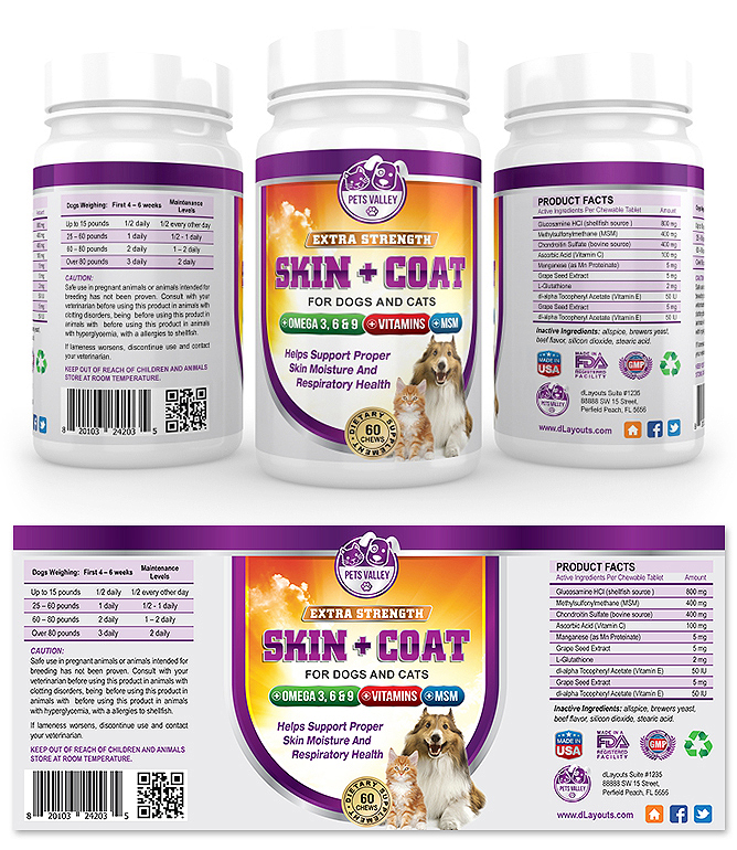 Pet Skin And Coat Supplement Label Template