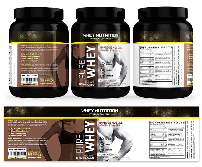 Whey Protein Sports Nutrition Chocolate Label Template
