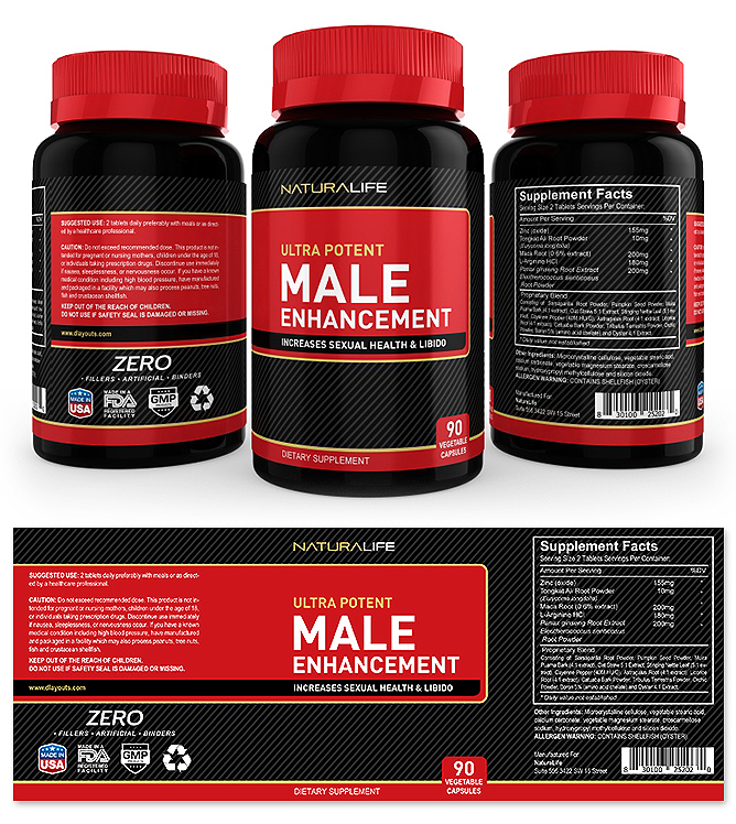Male Enhancement Supplement Label Template