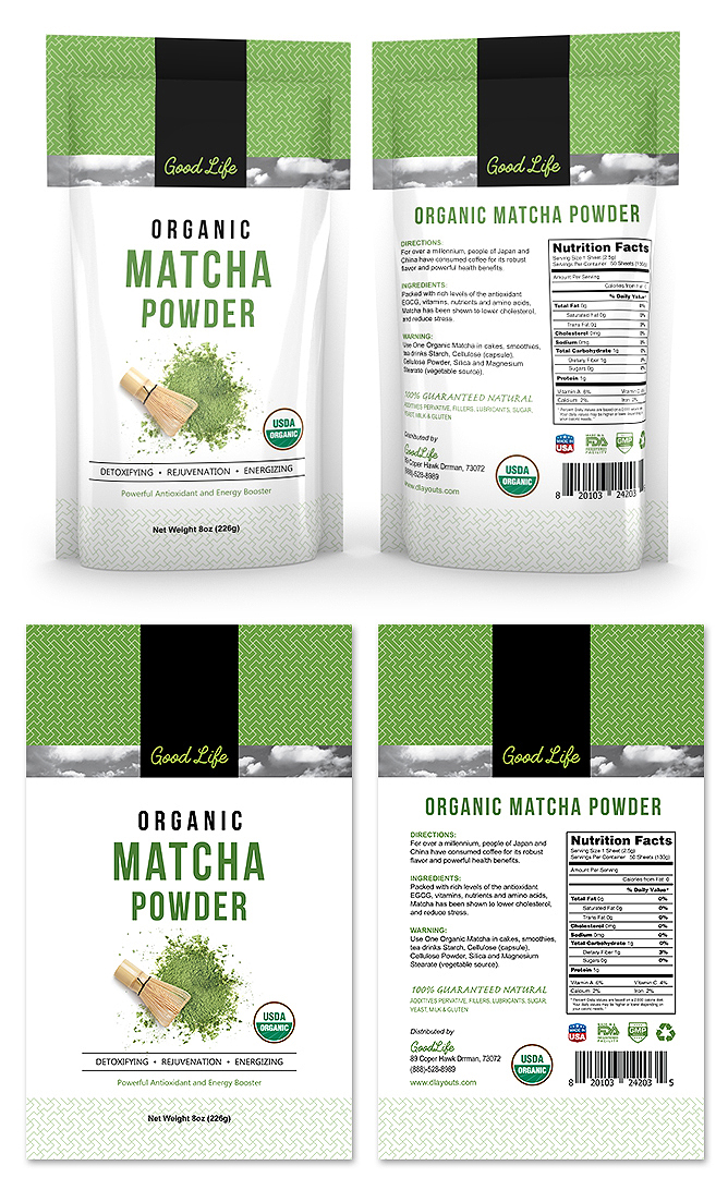 Organic Matcha Green Tea Powder Label Template