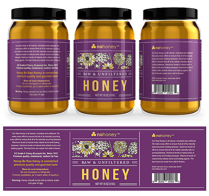 Pure & Raw Honey Labels Template