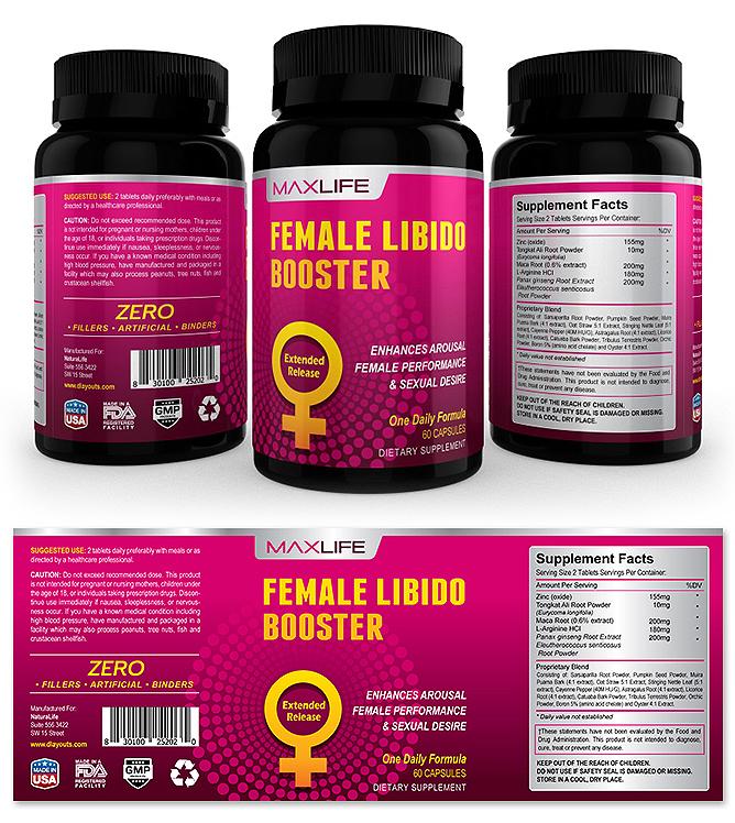 Female Libido Booster Supplement Label Template