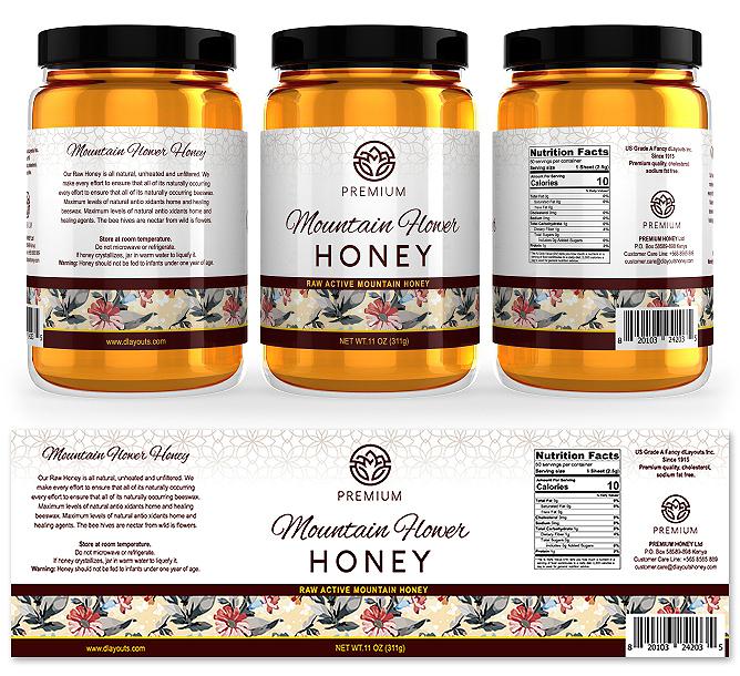 Mountain Flower Honey Label Template