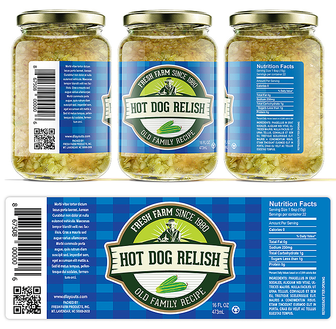 Hot Dog Relish Label Template