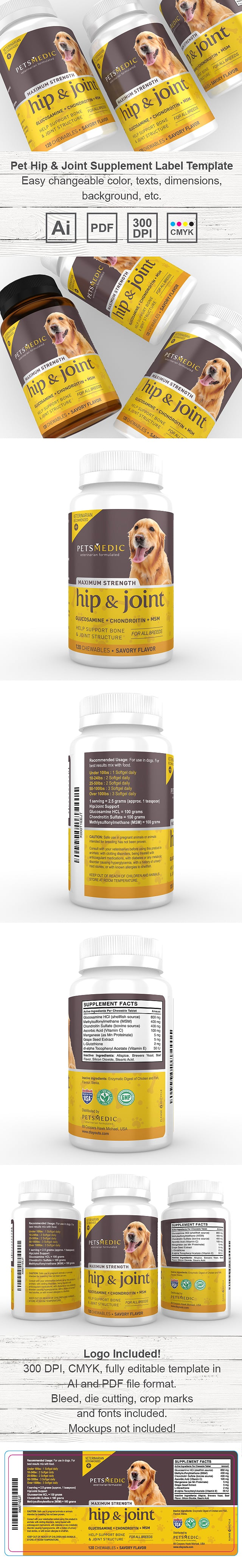Pet Hip and Joint Supplement Label Template