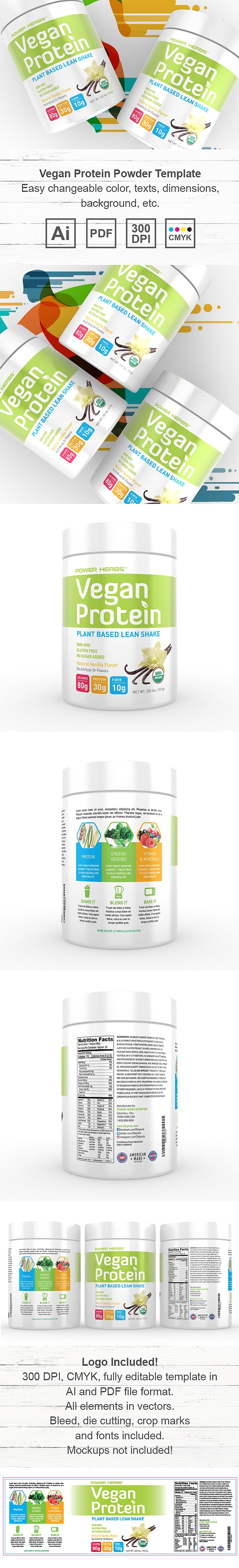Vegan Plant Protein Powder Supplement Label Template