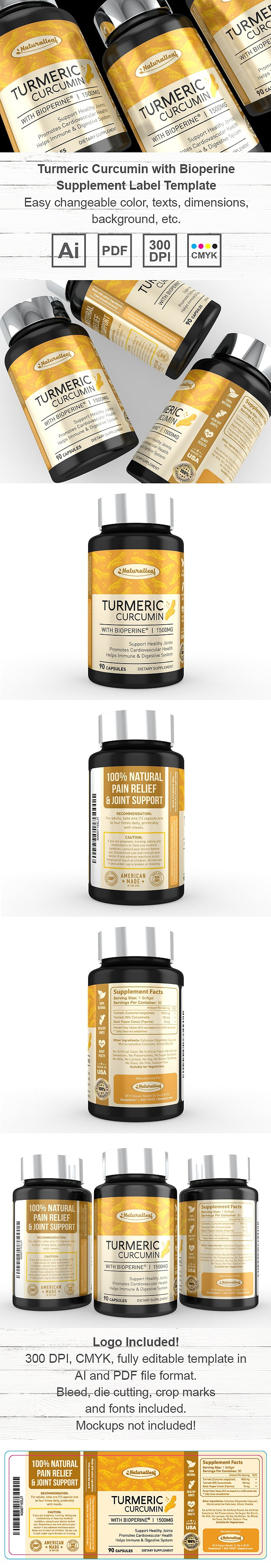 Turmeric Curcumin with Bioperine Supplement Label Template