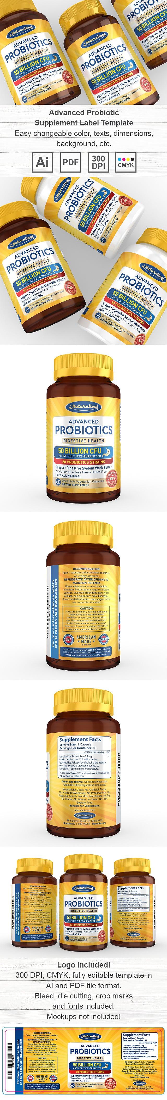 Advanced Probiotic Supplement Label Template