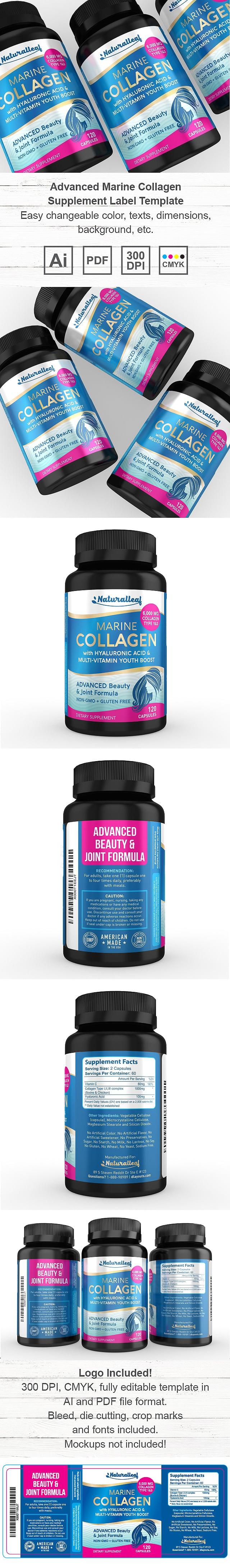 Advanced Marine Collagen Supplement Label Template