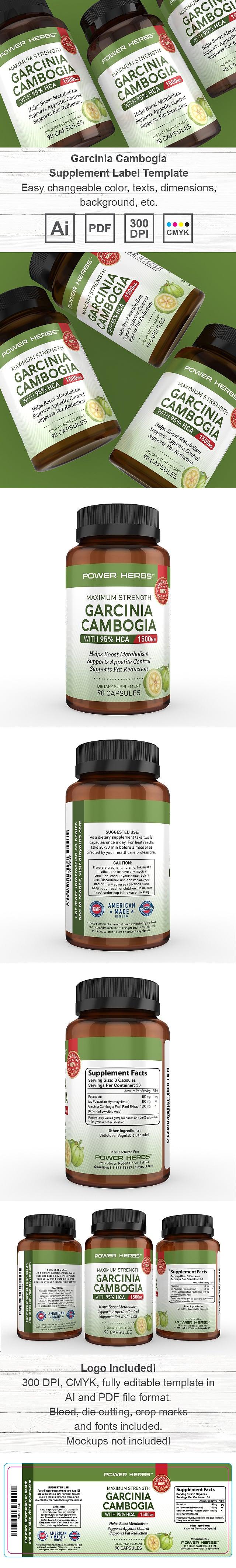 Garcinia Cambogia Supplement Label Template