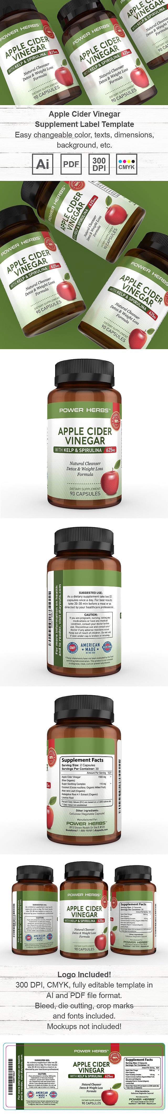 Apple Cider Vinegar Supplement Label Template